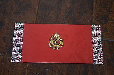 Red And Gold Ganesh Designed Money Holder Letter Envelopes 5 Pieces
