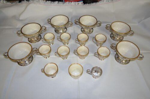 LENOX & STERLING SILVER 6 DESSERT BOWLS & 10 DEMITASSE CUPS W/ HOLDERS