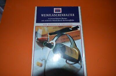 Weinflaschenhalter, Aus Edelstahl, für 0,75 oder 1 Liter Flaschen, Neu