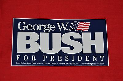NEW George W. Bush for President Bumper Sticker Election Presidential Collector