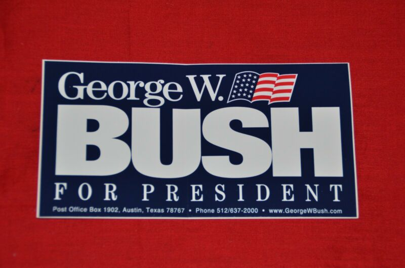 ORIGINAL George W. Bush for President Bumper Sticker Election Collector