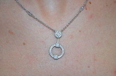 Circle Drop Diamond Pendant Necklace (Philippe Charriol 18K Gold Diamond Pave Milgrain Circle Drop Pendant Necklace  )