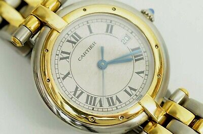 Authentic Cartier Panthere Watch 30mm Ladies Quartz Date 18K Gold 2 Row Date SS