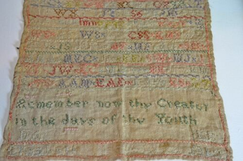 """CHARMING 1842 SAMPLER WITH """"MADE BY ELIZABETH"""" SIGNATURE UU54"""