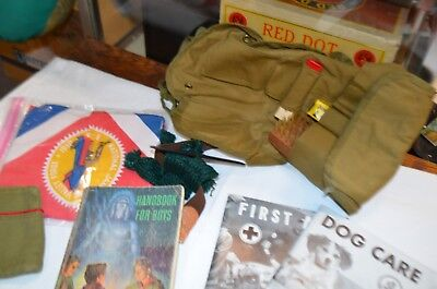 Lot of Boy Scout--Shirt, Shorts, Scarf, Personal Care Kit, Hat and 4 Books