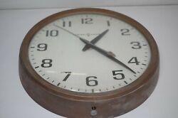 Vintage GENERAL ELECTRIC GE Large Brown WALL CLOCK Industrial School