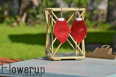Handmade lightweight red metallic Christmas statement real leather earrings  Red Christmas Earrings
