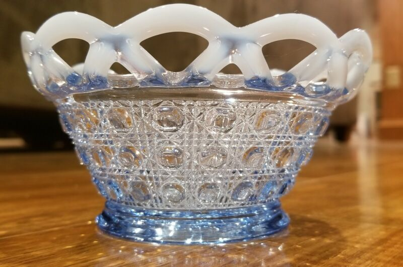 """Imperial Laced Edge Blue Opalescent Bowl """"Sugar Cane"""""""