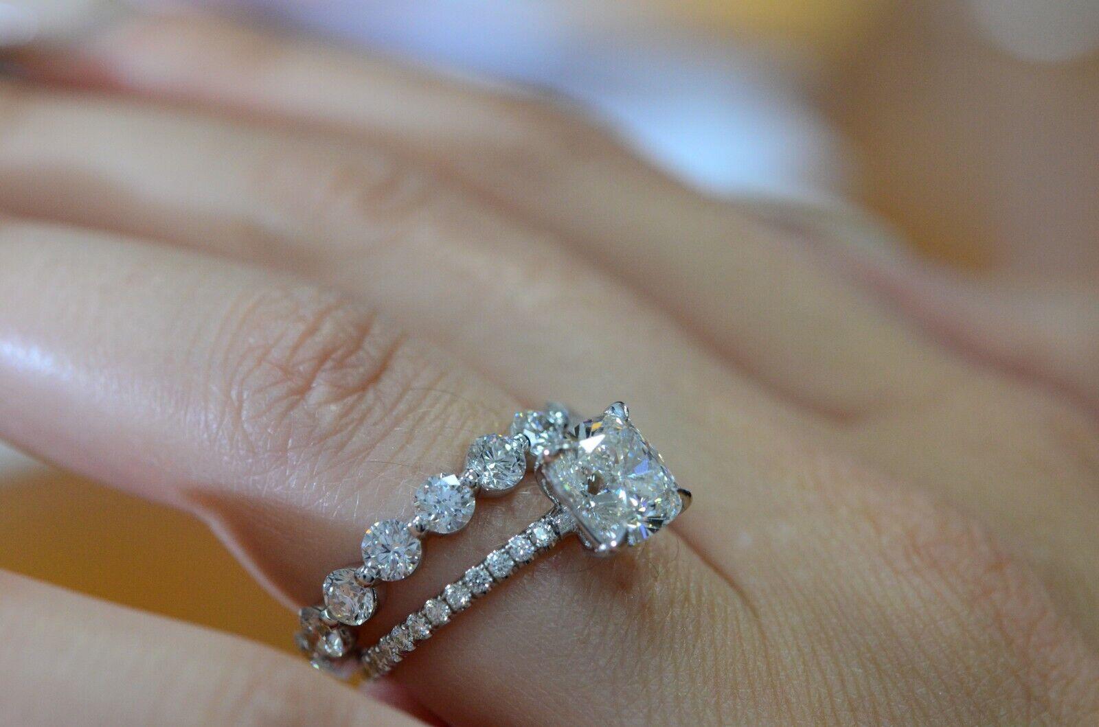 3.30 TCW Natural Cushion Cut Pave Diamond Ring w/ an Eternity Wedding Band - GIA 1