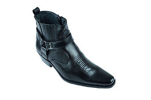 Mens Faux Leather Cowboy Western-Inspired Biker Ankle Boots Harley  Pointed Toe