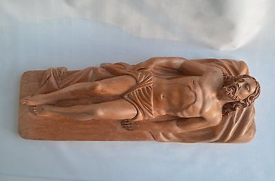 Hand Carved Wood Crucifix Jesus CHRIST corpus sculpture in tomb Reposed Jesus