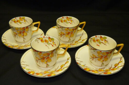 4 Vtg Antique Crown Ducal Pussy Willow Demitasse Demi Cup & Saucer Sets England