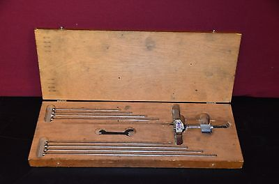 Starrett 445 Vintage Depth Micrometer 0-9 4 Base With Wood Case