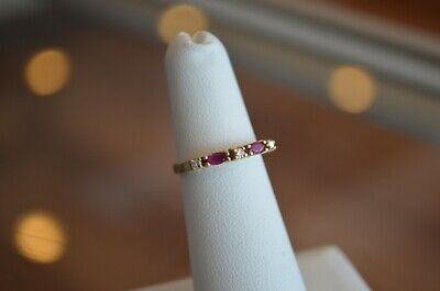 14k Yellow Gold Ruby and Diamond Ring Band Stackable - Size 4 open gallery ()