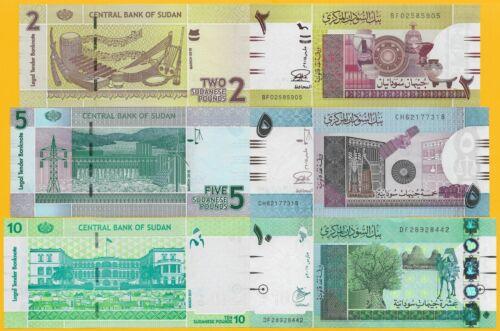 Sudan Set of 3 banknotes: 2, 5, 10 Pounds 2015-2017 UNC