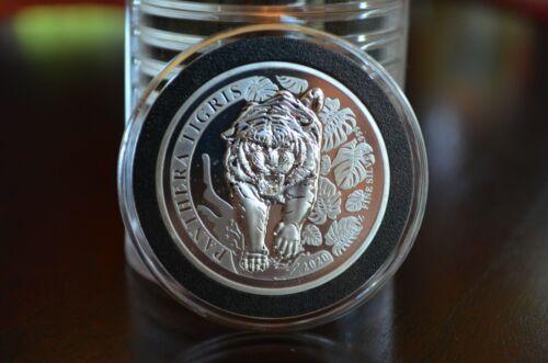 2020 Laos 1 Oz. Silver 500 KIP Tiger BU Panthera Tigris - Mintage Of Only 10,000