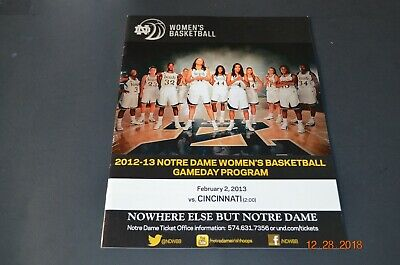 NOTRE DAME WOMENS BASKETBALL PROGRAM VS. CINCINNATI 2-2-2013
