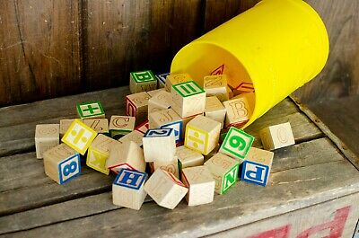 Vintage Alphabet Wood Building Block Toy lot vintage ABC blocks letter blocks