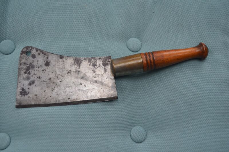 VINTAGE W & B CO. MEAT CLEAVER. USED CONDITION