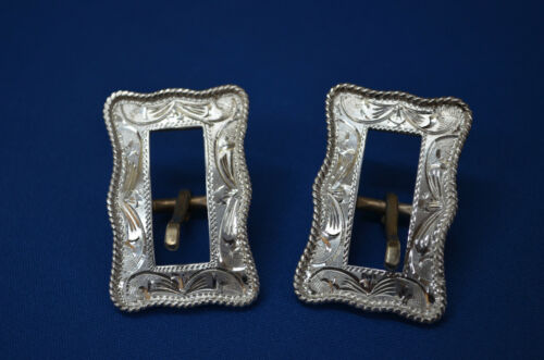 """Pair of FLEMING Sterling Silver Fancy Horse Bridle Headstall Buckles * 3/8"""" belt"""