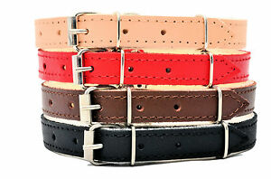 REAL-LEATHER-DOG-PUPPY-COLLARS-felt-lining-BROWN-BLACK-NATURAL-RED-small-large