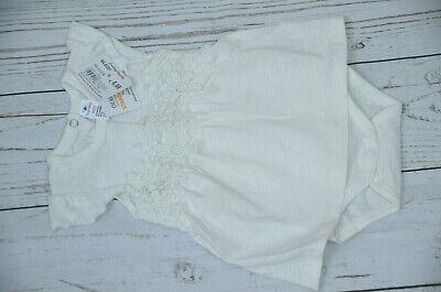 Topomini Baby Body Kleid Taufe Hochzeit Geburt creme Spitze Stickerei 50/56 Neu
