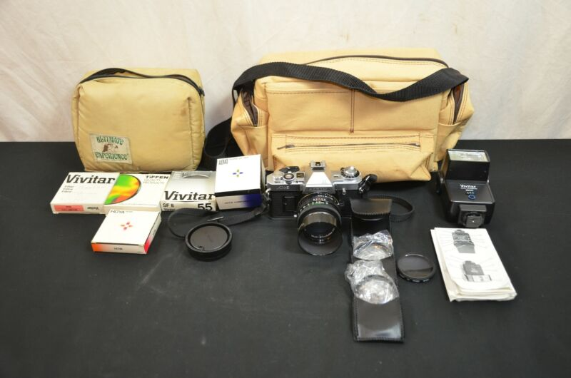 Fujica AX3 black camera w/50mm lens untested #1598