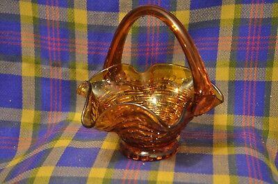 Vintage ?INDIANA GLASS Amber Basketweave Fluted Edge Applied Handle Basket