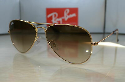 New Ray Ban Authentic Aviator RB 3025 001/51 Gold Frame Brown Gradient (Aviator Gold Brown Gradient)