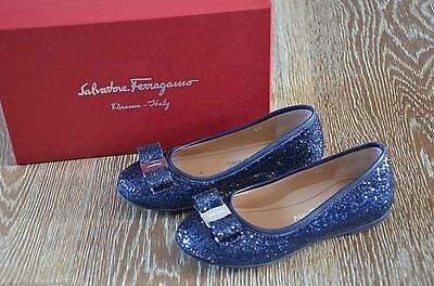Salvatore Ferragamo Girls Navy Glitter Shoes Size EURO 29/12 EUC ITALY!