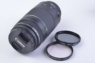 MINT CANON EF 75-300mm F4-5.6 III LENS, CLEAN, TESTED +BONUS SKY + POLA FILTERS