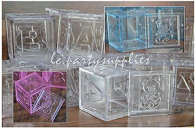 (12 Fillable Blocks Girl/Boy Baby shower Or Welcome Baby Party Favors Pink/Blue)