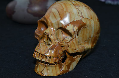 "Huge 4.3"" jasper Skull Hand Carved Gemstone Realistic Crystal Healing"