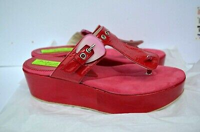 - New Women's Shoes Sandals Leather Wedge Platform Fuchsia Pink 5 5.5 35.5 Italy