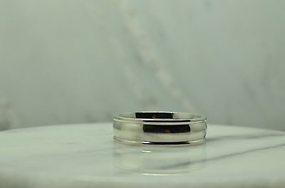 950 PLATINUM POLISHED FINISH BORDERED WEDDING BAND HEAVY RING 6.4mm SIZE -
