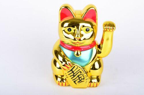 """10"""" Tall Fortune Lucky Gold Cat Kitten Feng Shui Wealth Waving Maneki Beckoning"""