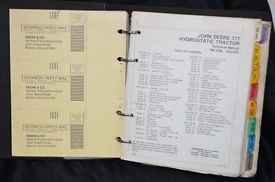 Tm1208 John Deere 317 Hydrostatic Technical Service Shop Repair Manual Binder