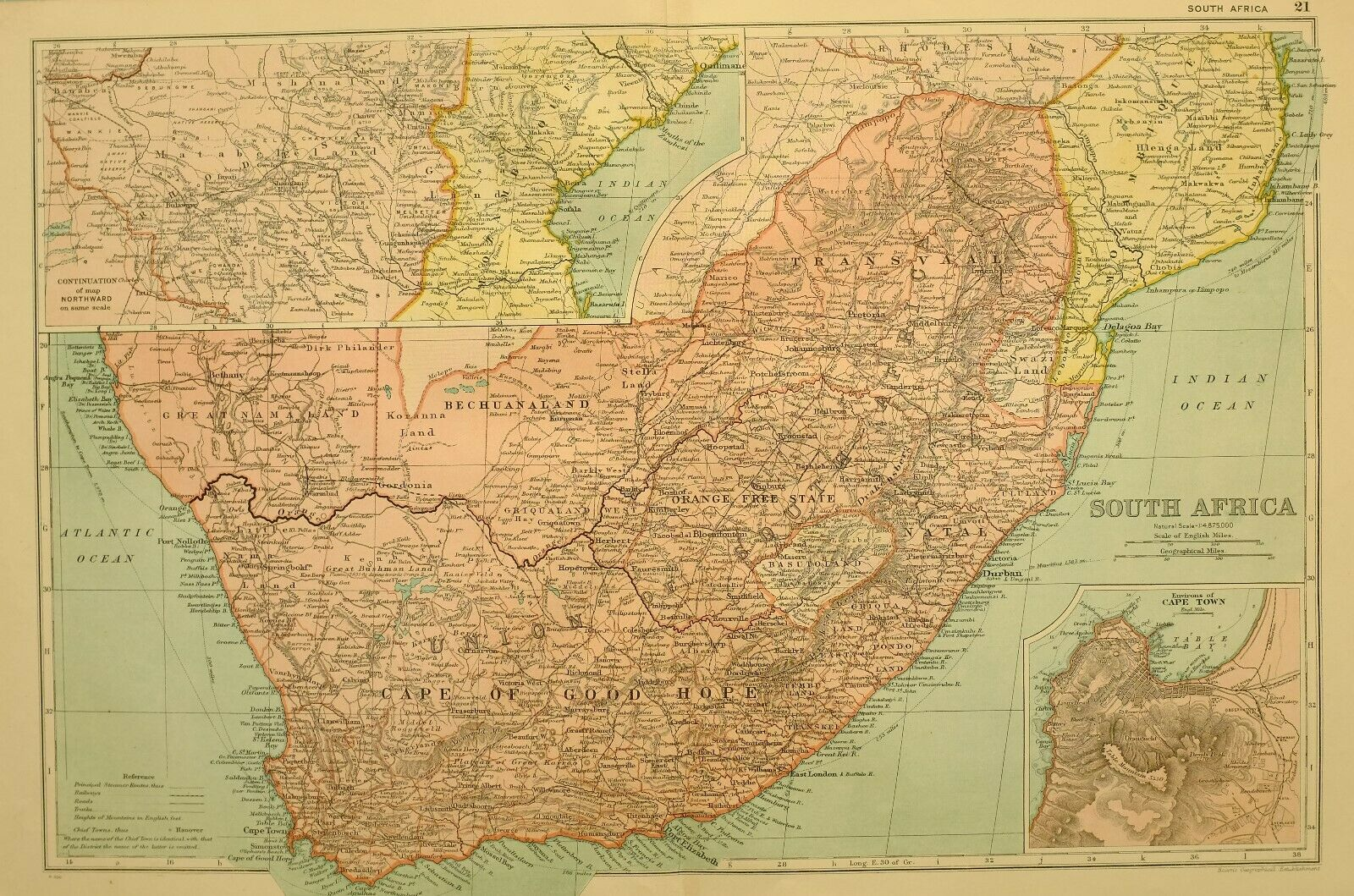1922 MAP SOUTH AFRICA CAPE OF GOOD HOPE GREAT NAMALAND BECHUANLAND NATAL