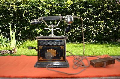 Sehr schönes originales altes Tischtelefon Kurbeltelefon, Kaiserzeit um 1900