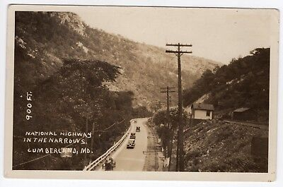 National Highway US 40 The Narrows Cumberland MD Maryland Antique RPPC Postcard