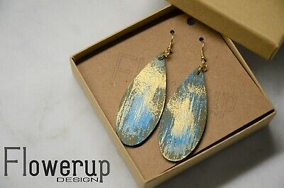 Hand-painted brown gold turquoise real leather earrings teardrop dangle earrings Golden Brown Earring