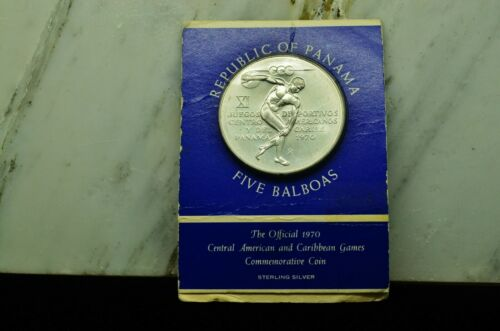 1970 PANAMA 5 BALBOAS UNCIRCULATED STERLING SILVER CARIBBEAN GAMES COMMEMORATIVE