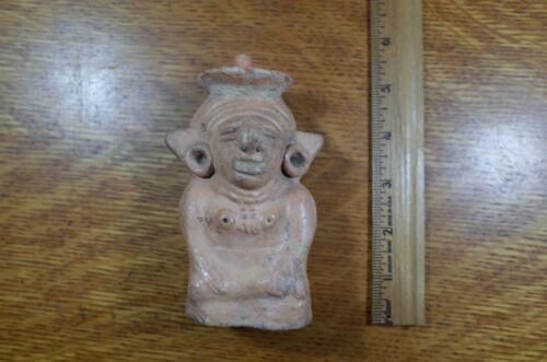 Pre-Columbian Ceramic Stature Corn Goddess Shamanic Rattle Certified