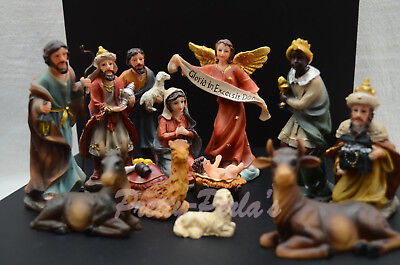 Christmas Nativity Scene Set Figures Polyresin Figurines Baby Jesus-13-PIECE SET - Child Nativity Set