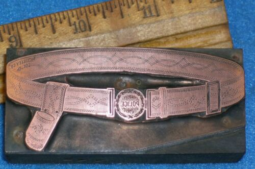 Antique POLICE BELT & BUCKLE Copper Printing Block * MC LILLEY Catalog Style #1