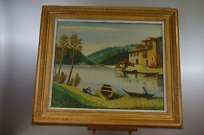 ANTIQUE TABLE ON PANEL SUPER FRAME SIGN A GUSTIN 1962 OIL THE WASHHOUSE CANVAS