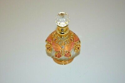 Frosted Glass Perfume Bottle with Swirled Ribbing & Butterfly and Floral Décor