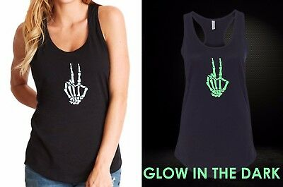Skeleton Tank Top Womens (Womens Tank Top Skeleton Hand Shirt Halloween Costume Tee GLOW In The Dark)