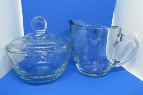 Mickey Mouse Etched Sugar and Creamer by Anchor Hocking Clear Glass