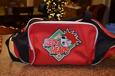 HOLIDAY GIFT-REDS HEADS CINCINNATI REDS CANVAS DUFFLE  BAG-NBL SPORTS-MINTY